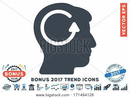 Smooth Blue Refresh Head Memory pictogram with bonus 2017 trend design elements. Vector illustration style is flat iconic bicolor symbols white background.
