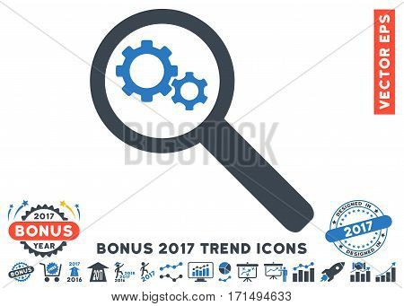 Smooth Blue Search Gears Tool pictogram with bonus 2017 year trend images. Vector illustration style is flat iconic bicolor symbols white background.
