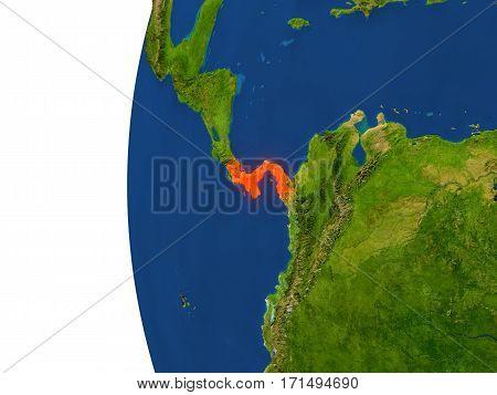 Panama On Globe