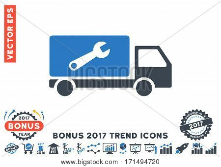 Smooth Blue Service Car pictograph with bonus 2017 trend clip art. Vector illustration style is flat iconic bicolor symbols white background.