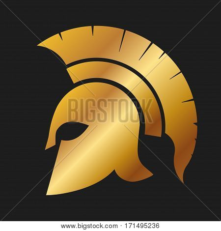 Spartan Helmet silhouette, golden Greek warrior - Gladiator, legionnaire heroic soldier. vector