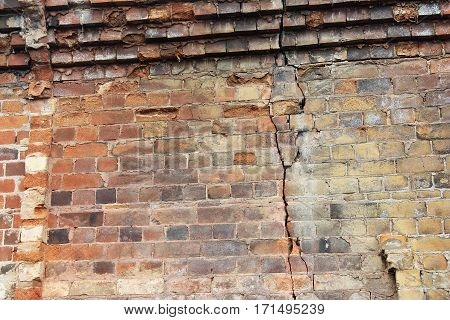 Close-up view of cracked old building brick wall with eroded bricks on top background concept