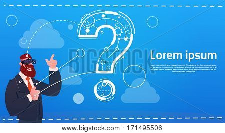 Business Man Wear Digital Reality Glasses Question Mark Ponder Problem Concept Flat Vector Illustration