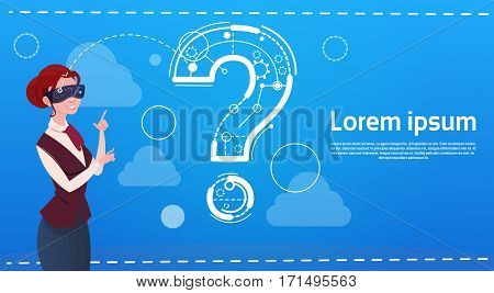 Business Woman Wear Digital Reality Glasses Question Mark Ponder Problem Concept Flat Vector Illustration