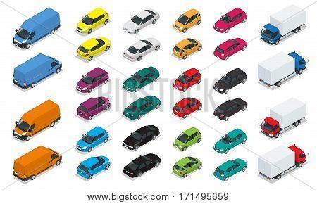 Car icons. Flat 3d isometric high quality city transport. Sedan, van, cargo truck, hatchback. Set of urban public and freight transport.