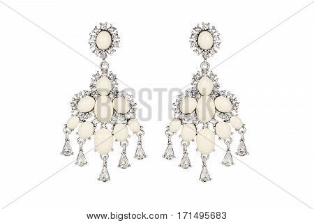 Jewelry on a white background. Women's earrings premium with precious stones. Isolate Jewelry. Briliant poster