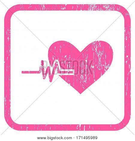 Heart Pulse rubber watermark. Vector pictogram symbol inside rounded rectangular frame with grunge design and dust texture. Stamp seal illustration. Unclean pink ink sticker on a white background.