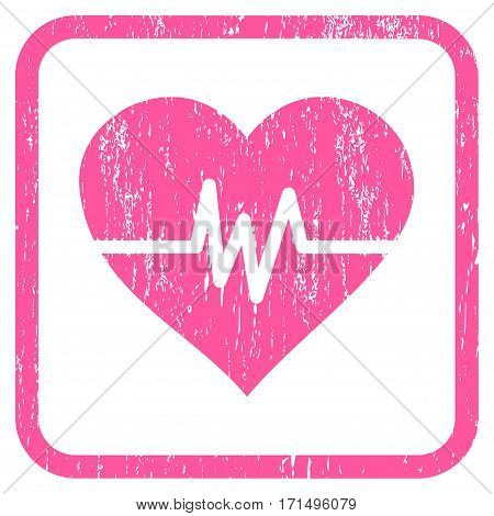 Heart Pulse rubber watermark. Vector pictogram symbol inside rounded rectangular frame with grunge design and scratched texture. Stamp seal illustration.
