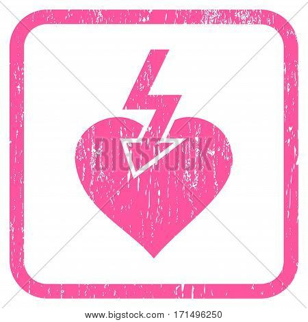 Heart Shock Strike rubber watermark. Vector icon symbol inside rounded rectangle with grunge design and scratched texture. Stamp seal illustration. Unclean pink ink emblem on a white background.