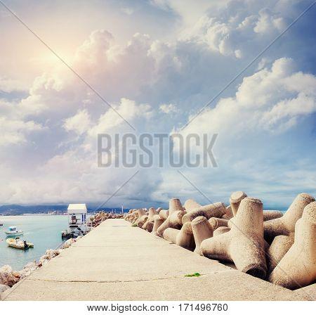 Pier in port of Santa Maria Maggiore in Milazzo town, Sicily, Italy