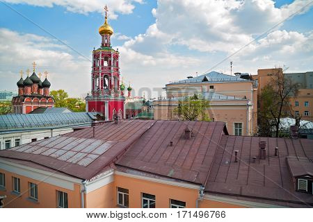Panoramic view of the high Monastery of St Peter and historic buildings in the center of Moscow. Russia.