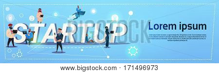 Business People Group Startup New Idea Concept Creative Brainstorm Cooperation Banner Flat Vector Illustration