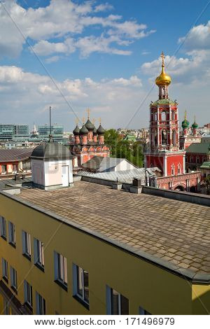 Aerial view of the high Monastery of St Peter and a new shopping center. Moscow, Russia.