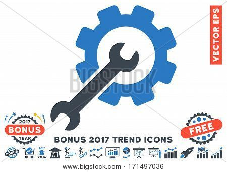 Smooth Blue Setup Tools pictograph with bonus 2017 year trend pictograph collection. Vector illustration style is flat iconic bicolor symbols white background.