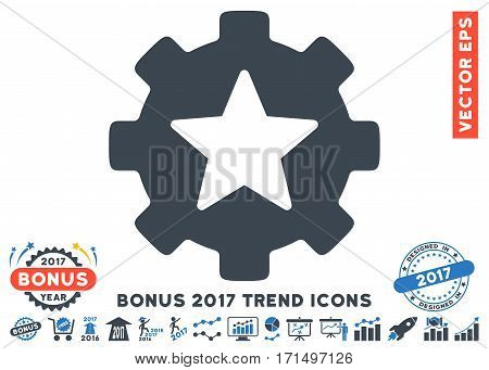 Smooth Blue Star Favorites Options Gear pictogram with bonus 2017 year trend design elements. Vector illustration style is flat iconic bicolor symbols white background.