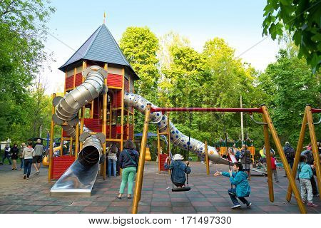 MOSCOW/ RUSSIA - MAY 17. Children's playground in Moscow park Sokolniki on May 17, 2014 in Moscow, Russia.