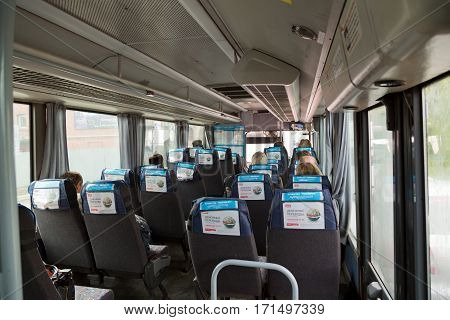 MOSCOW/RUSSIA - MAY 17,2014: Interior of the typical intercity bus in Moscow region, Russia.