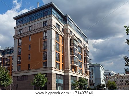 MOSCOW/ RUSSIA - JULY 16. Buildings of the new luxury residential complex Four suns in the center of Moscow, Russia on July 16, 2015.