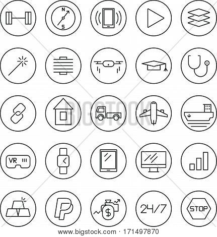 25 Stroke thin line icons for Web and Mobile