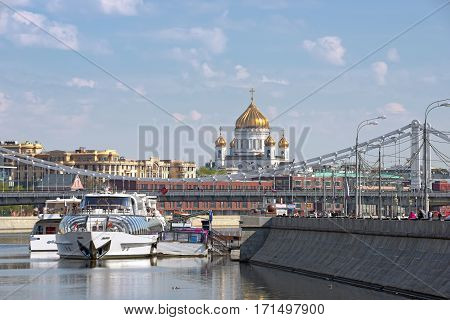 MOSCOW/ RUSSIA - MAY 2. Cathedral of Christ the Saviour and Krymsky Bridge over the Moskva River on May 2, 2016 in Moscow, Russia.