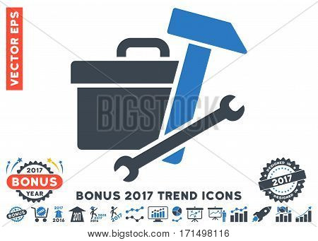 Smooth Blue Toolbox icon with bonus 2017 trend icon set. Vector illustration style is flat iconic bicolor symbols white background.