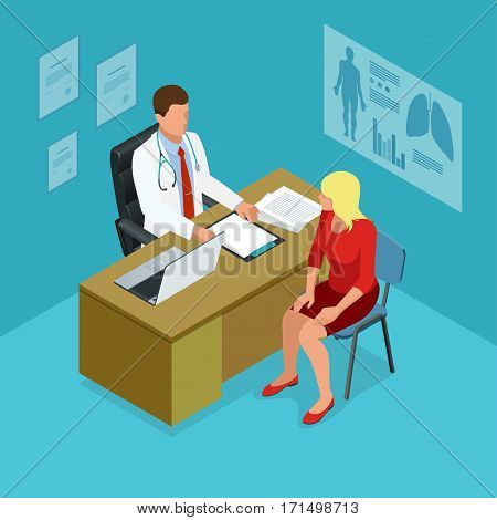 Isometric doctor showing something patient on tablet pc in hospital. Male doctor talking with female patient in doctors office. Healthcare, medical and technology