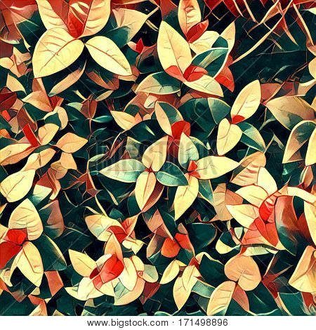 Leaves and flowers in autumn color palette. Digital illustration for background seasonal fall backdrop