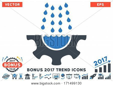 Smooth Blue Water Shower Service Gear icon with bonus 2017 trend clip art. Vector illustration style is flat iconic bicolor symbols white background.