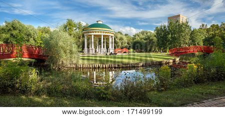 Pavillion Air Tempel in a city park on the banks of the Yauza River. Moscow Russia.