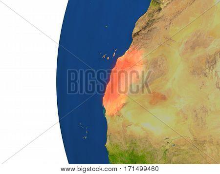 Western Sahara On Globe