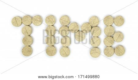 pills posted in word time. Isolated on white background