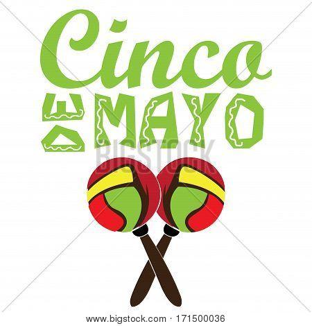 Isolated pair of maracas and text, Cinco de mayo vector illustration