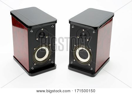 two stereo audio speakers on white background