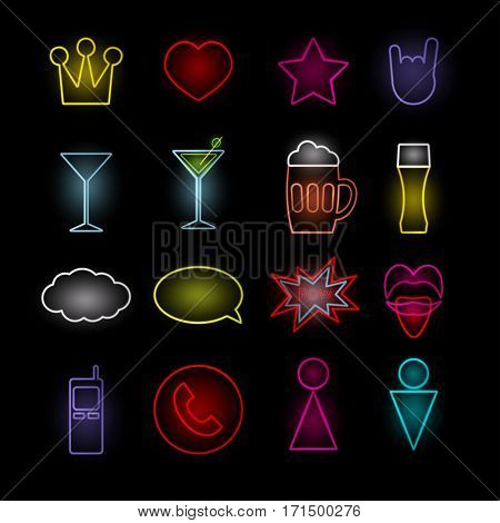 Neon icon set Vector illustration Set of neon lifestyle icons in different colors Realistic style