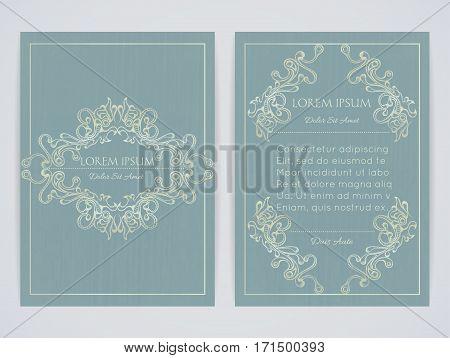 Cover design with ornamental frame. Retro style. Vintage. Ornate decoration. Brochure flyer invitation or certificate. Size a4. Vector illustration eps10