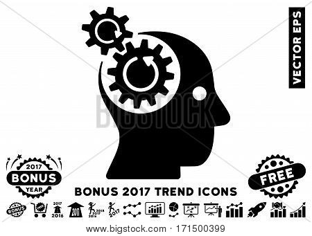 Black Brain Gears Rotation icon with bonus 2017 year trend pictograms. Vector illustration style is flat iconic symbols white background.