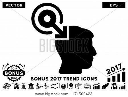 Black Brain Interface Plug-In pictogram with bonus 2017 year trend elements. Vector illustration style is flat iconic symbols white background.