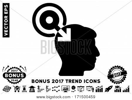 Black Brain Interface Plug-In icon with bonus 2017 year trend pictograms. Vector illustration style is flat iconic symbols white background.