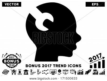 Black Brain Wrench Tool icon with bonus 2017 year trend pictures. Vector illustration style is flat iconic symbols white background.