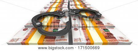 Criminal money. Bundles of Russian rubles tied with a tapes on a white surface with handcuffs. Isolated. 3D Illustration