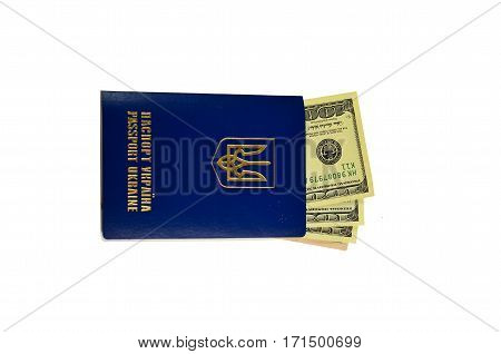 Ukrainian Foreign Passport With One Hundred Dollars Isolated On White