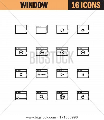 Internet window flat icon set. Collection of high quality outline symbols for web design, mobile app. Internet page vector thin line icons or logo.