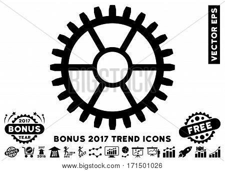 Black Clock Wheel pictogram with bonus 2017 year trend pictograms. Vector illustration style is flat iconic symbols white background.