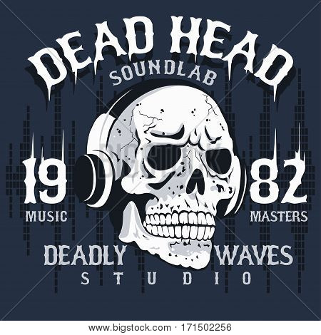 Skull with headphones, Hand drawn sketchy t-shirt design, dead head music tee graphics. vector
