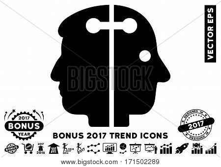 Black Dual Head Connection pictograph with bonus 2017 trend images. Vector illustration style is flat iconic symbols white background.