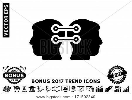 Black Dual Heads Interface Connection icon with bonus 2017 year trend elements. Vector illustration style is flat iconic symbols white background.