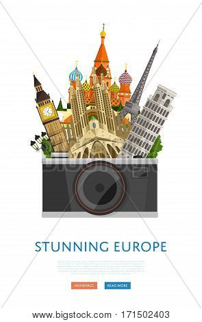 Stunning europe poster with Eiffel Tower, Leaning Tower, Big Ben and others famous architectural compositions vector illustration. Big camera on background of famous attractions. Time to travel