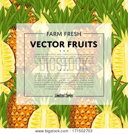 Organic farm fruit square banner with pineapple vector illustration. Natural fruit background, organic farming template, vegan food retail poster. Healthy farm fruit backdrop with pineapple pattern