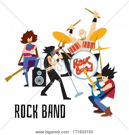 Rock band, music group with musicians concept of artistic people vector illustration. Singer, guitarist, drummer, and bassist isolated characters performing. Rock star music concert in flat design.