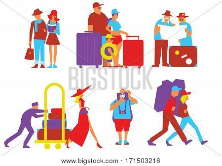 Traveling people vector illustration. Tourist with backpack. Family travelers, active forms of recreation, hiking, adventures. Couple of journey. Trip and vacation. Summer traveling. Man with camera